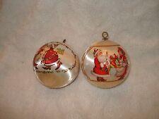 "VTG-2-SILK BALL CHRISTMAS ORNAMENTS 1983 MR-MRS-SANTA KISSES & D& D PRESENTS  3"""