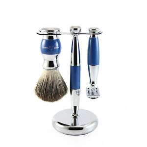 Edwin Jagger - Blue & Chrome 3 Piece DE Safety Razor Shaving Set in Gift Box