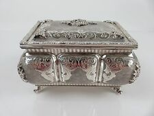 Chinese Export Hand Wrought Lobbed Sterling Silver Tea Caddy Box, c1880-1900