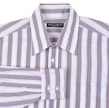 RECENT Dolce & Gabbana White Brown Multi Striped Spread Collar Shirt 16