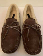 COLE HAAN Savin Hill FAUX FUR LINED MENS Suede SLIPPERS C20883 Chestnut US 10.5