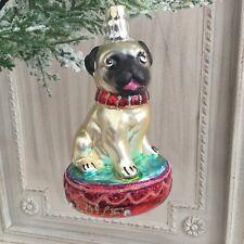 Vintage Retro Style Glass Pug On Cushion Christmas Tree Decoration Gisela Graham