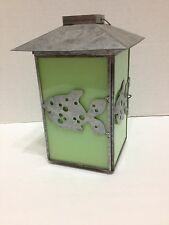 Candle Holder Lantern Fish Metal Green Glass Votive Home Decor