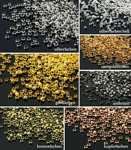 INWARIA Quetschperlen Ø 2/2,5/3/4 mm Messing 50/100/500 Perlen Metallperlen S39