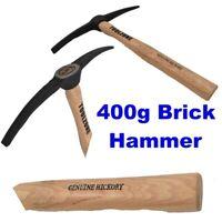 Double Ended Brick Hammer Hickory Handle 400g Pick Stone Masons Masonry HM026