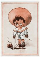 """Boy in Sailor Suit Crying Dirty with Mud """"She loves me not"""" Vintage Postcard"""