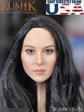 "KUMIK 1/6 Female Head Sculpt LONG BLACK HAIR KM18-31 For 12"" PHICEN Figure USA"