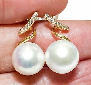 Gorgeous Natural Pure White Round 9.5 - 10mm Cultured Edison Pearl Stud Earrings