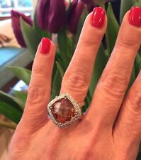 "NEW ""designer inspired"" Amber Topaz CZ Cocktail Ring w. Cz Pave detail Size 7"