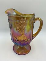 Indiana Carnival Glass Iridescent Gold Pitcher Harvest Grape