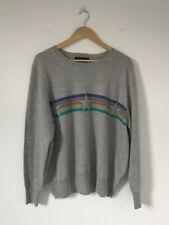 M&S Women Jumper Size 24 Grey Stripe Star 100% Cashmere Long Sleeve