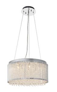 ENDON  Galina Modern Pendant Ceiling Light 12 Light Chrome & Clear Crystal