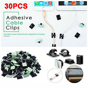 30X Mini Car Wire Clips Self Adhesive Rectangle Tie Sticker Cable Cord Holder UK