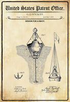 Ee.uu. Patent Boya Buoy 1878 Letrero de Metal Arqueado Tin Sign 20 X 30CM