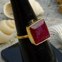 Square Faceted Red Ruby Gemstone Sterling Silver Yellow Gold Gift Ring Size 8