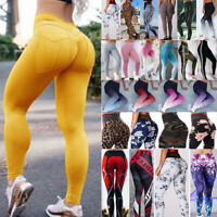 Womens Push Up Yoga Pants Pockets Leggings High Waisted Sports Fitness Running
