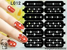 Nail Art Decal Stencil Stickers Heart Lines Valentine's Day L012