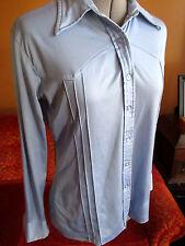 L True Vtg 70's Stretch Knit Collared Light blue LS Disco Top Shirt