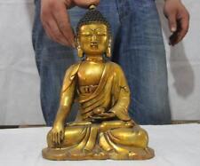 "12"" Tibetan bronze Copper Buddhism Shakyamuni Tathagata Buddha Seat Bowl Statue"