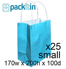 x25 AQUA BLUE paper gift CARRY tote party BAGS with handles SMALL (170 x 200mm)