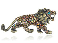 Geunine Topaz Crystal Rhinestone Roar King Lion Animal Fashion Pin Brooch Gifts