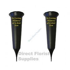 2 X Son In Loving Memory British Made Black Grave Flower Vase Funeral Spike