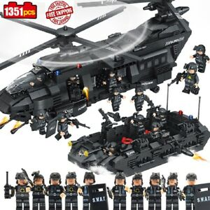 1351pcs Military SWAT Team Helicopter Tank Transport Model Building Army
