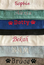 More details for dog towel - personalised embroidered - flannel or hand towel size - name / paws