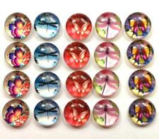 BB 12MM GLASS CABOCHONS - DRAGONFLY BUTTERFLIES  5 pairs / 10 dome flatbacks
