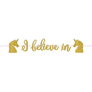 Magical I Believe in Unicorns Gold Glitter Banner Unicorn Party Decoration