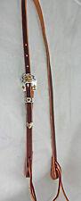 "Brown Harness Leather 1/2"" Bosal Hackamore Hanger Silver Plate Southwest Buckle"