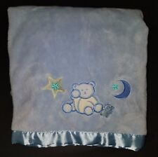 "NoJo Teddy Bear Blue Baby Boy Security Blanket Lovey 40"" x 29"" Fleece Stars Moon"