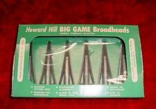 AUTHENTIC Vintage Box of 6 HOWARD HILL 1956 Big Game BROADHEADS w/ Copper Pins