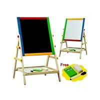 2 in 1 Kids Wooden Double Sided Adjustable Drawing Art Writing,Easel Chalk Board
