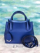 $2695 CHRISTIAN DIOR Open Bar Blue Leather 2 Way Satchel Shoulder Bag Small SALE