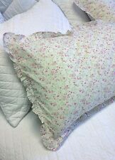 Pillow Case Sham Slip Soft Voile Pale Green And Pink Floral Frilled Edge