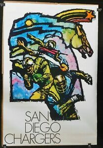 Vintage Original 1970 San Diego Chargers 36x24 Poster