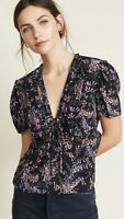 NWT- Cinq a Sept Keira Snapdragon Floral-Print Silk Top, Black Multi - Small