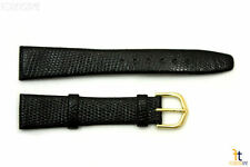 18mm Genuine Black Lizard Skin Watch Band Strap Gold Tone Buckle