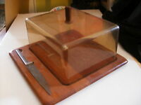 VTG Digsmed Denmark Teak Cheese Board Cover Knife Mid-Century