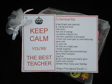 Best Teacher Survival Kit Gift Present Thank You Card Personalise KEEP CALM