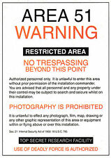 Area 51 Warning Postcard - Aliens, Humour