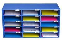 AdirOffice 15-Slot Corrugated Cardboard File Organizer, Blue, Office Classroom