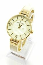 Anne Klein AK2210IMGB MOP Dial Gold-Tone and Ivory Marbleized Bangle Watch