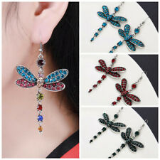 5 Colors Elegant Dragonfly Drop Earrings 925 Silver Cubic Zircon Jewelry A Pair