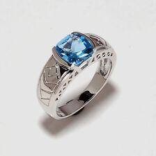 14 K Solid White Gold Natural Gem Stone Blue Topaz Men's Ring Us 7 8 9 10 11