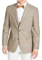 Tommy Hilfiger Mens Blazer Tan Brown Size 38 Two-Button Notched $295 #036