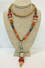 """Necklace 23"""" Dropped, Beaded Jade, Agate, Wood, Silver tone, Amber color"""