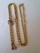 """Vintage Goldette Ruby Red Glass 31"""" Slide Bolo Gold Tone Necklace"""