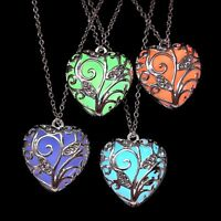 Magical Aqua Colourful Hollow Love Heart Glow in the Dark Pendant Necklace
